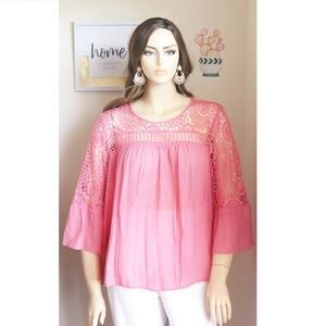 NEW 1X Pink CORAL Sheer with Crochet Top